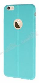 iPhone 6 Plus / 6S Plus Deri Desenli Ultra İnce Su Yeşili Silikon Kılıf