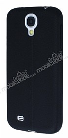 Samsung Galaxy i9500 S4 Deri Desenli Ultra İnce Siyah Silikon Kılıf