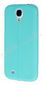 Samsung Galaxy i9500 S4 Deri Desenli Ultra İnce Su Yeşili Silikon Kılıf