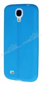 Samsung Galaxy i9500 S4 Deri Desenli Ultra İnce Mavi Silikon Kılıf