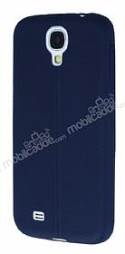 Samsung Galaxy i9500 S4 Deri Desenli Ultra İnce Lacivert Silikon Kılıf