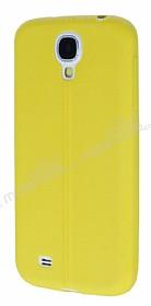Samsung Galaxy i9500 S4 Deri Desenli Ultra İnce Sarı Silikon Kılıf
