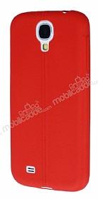 Samsung Galaxy i9500 S4 Deri Desenli Ultra İnce Kırmızı Silikon Kılıf