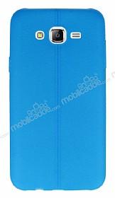 Samsung Galaxy J7 / Galaxy J7 Core Deri Desenli Ultra İnce Mavi Silikon Kılıf