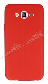 Samsung Galaxy J7 / Galaxy J7 Core Deri Desenli Ultra İnce Kırmızı Silikon Kılıf