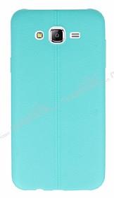 Samsung Galaxy J7 / Galaxy J7 Core Deri Desenli Ultra İnce Su Yeşili Silikon Kılıf
