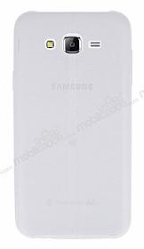 Samsung Galaxy J7 / Galaxy J7 Core Deri Desenli Ultra İnce Şeffaf Beyaz Silikon Kılıf