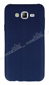 Samsung Galaxy J7 / Galaxy J7 Core Deri Desenli Ultra İnce Lacivert Silikon Kılıf