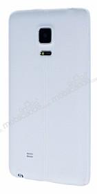 Samsung Galaxy Note Edge Deri Desenli Ultra İnce Şeffaf Beyaz Silikon Kılıf