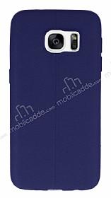 Samsung Galaxy S7 Edge Deri Desenli Ultra İnce Lacivert Silikon Kılıf