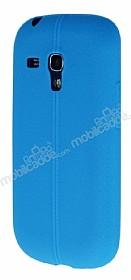 Samsung i8190 Galaxy S3 Mini Deri Desenli Ultra İnce Mavi Silikon Kılıf