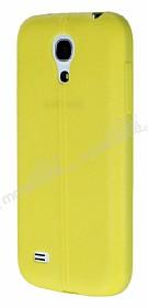 Samsung i9190 Galaxy S4 mini Deri Desenli Ultra İnce Sarı Silikon Kılıf