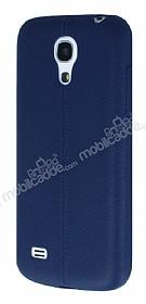 Samsung i9190 Galaxy S4 mini Deri Desenli Ultra İnce Lacivert Silikon Kılıf
