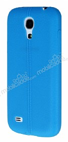 Samsung i9190 Galaxy S4 mini Deri Desenli Ultra İnce Mavi Silikon Kılıf