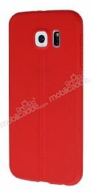 Samsung i9800 Galaxy S6 Deri Desenli Ultra İnce Kırmızı Silikon Kılıf