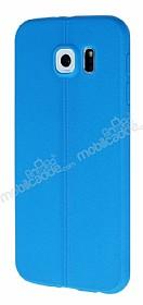 Samsung i9800 Galaxy S6 Deri Desenli Ultra İnce Mavi Silikon Kılıf