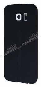 Samsung i9800 Galaxy S6 Deri Desenli Ultra İnce Siyah Silikon Kılıf