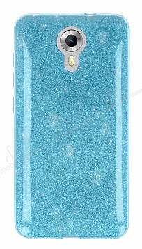 Eiroo Silvery General Mobile Android One Simli Mavi Silikon Kılıf