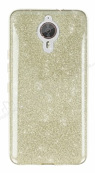 Eiroo Silvery General Mobile GM 5 Plus Simli Gold Silikon Kılıf