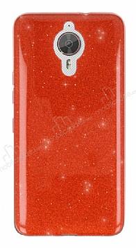Eiroo Silvery General Mobile GM 5 Plus Simli Kırmızı Silikon Kılıf