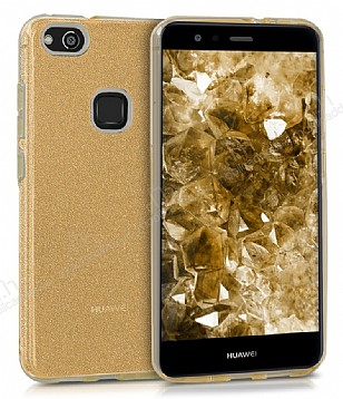 Eiroo Silvery Huawei P10 Lite Simli Gold Silikon Kılıf