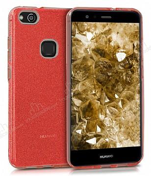 Eiroo Silvery Huawei P10 Lite Simli Kırmızı Silikon Kılıf