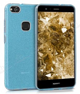 Eiroo Silvery Huawei P10 Lite Simli Mavi Silikon Kılıf