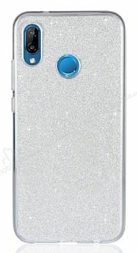Eiroo Silvery Huawei P20 Lite Simli Silver Silikon Kılıf