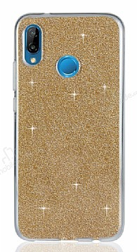 Eiroo Silvery Huawei P20 Lite Simli Gold Silikon Kılıf