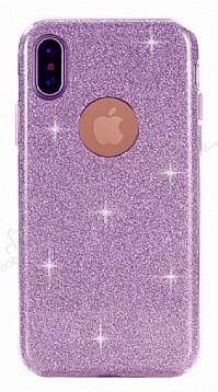 Eiroo Silvery iPhone X Simli Mor Silikon Kılıf