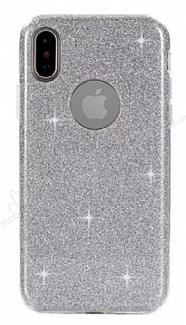 Eiroo Silvery iPhone X Simli Silver Silikon Kılıf