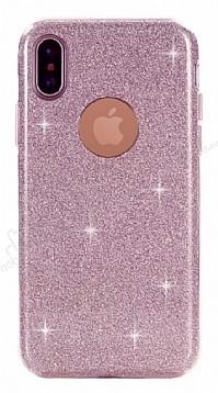 Eiroo Silvery iPhone X Simli Pembe Silikon Kılıf
