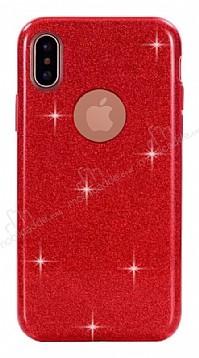 Eiroo Silvery iPhone X Simli Kırmızı Silikon Kılıf