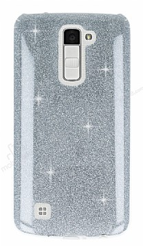 Eiroo Silvery LG K10 Simli Silver Silikon Kılıf