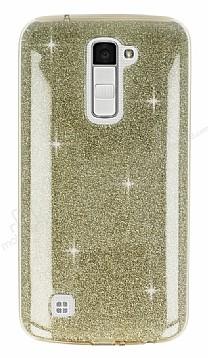 Eiroo Silvery LG K10 Simli Gold Silikon Kılıf