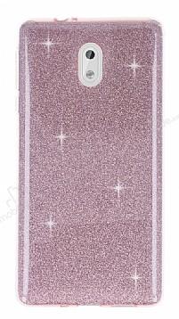 Eiroo Silvery Nokia 3 Simli Pembe Silikon Kılıf