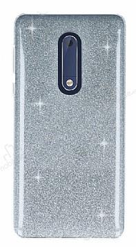 Eiroo Silvery Nokia 5 Simli Silver Silikon Kılıf