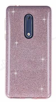 Eiroo Silvery Nokia 5 Simli Pembe Silikon Kılıf