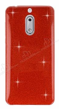 Eiroo Silvery Nokia 6 Simli Kırmızı Silikon Kılıf