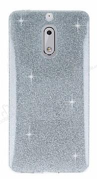 Eiroo Silvery Nokia 6 Simli Silver Silikon Kılıf
