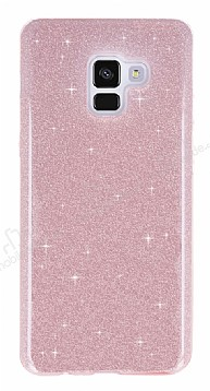 Eiroo Silvery Samsung Galaxy A8 2018 Simli Pembe Silikon Kılıf