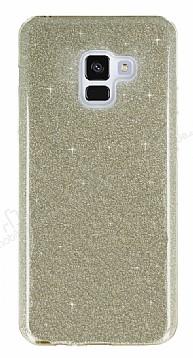 Eiroo Silvery Samsung Galaxy A8 2018 Simli Gold Silikon Kılıf