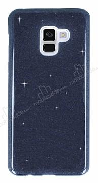Eiroo Silvery Samsung Galaxy A8 2018 Simli Siyah Silikon Kılıf