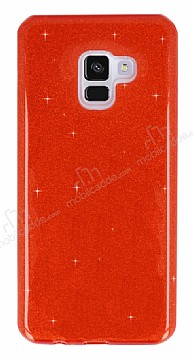 Eiroo Silvery Samsung Galaxy A8 Plus 2018 Simli Kırmızı Silikon Kılıf