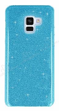Eiroo Silvery Samsung Galaxy A8 Plus 2018 Simli Mavi Silikon Kılıf