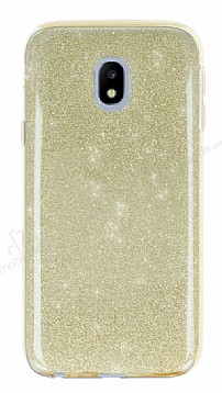 Eiroo Silvery Samsung Galaxy J3 2017 Simli Gold Silikon Kılıf