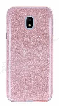Eiroo Silvery Samsung Galaxy J3 2017 Simli Pembe Silikon Kılıf
