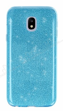 Eiroo Silvery Samsung Galaxy J5 Pro 2017 Simli Mavi Silikon Kılıf