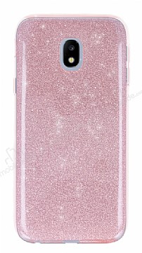 Eiroo Silvery Samsung Galaxy J5 Pro 2017 Simli Pembe Silikon Kılıf
