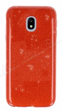 Eiroo Silvery Samsung Galaxy J7 Pro 2017 Simli Kırmızı Silikon Kılıf